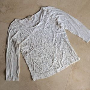 Lucky Brand 3/4 Sleeve White Top M